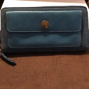 Vintage Coach Turquoise Suede/Leather Zip Wallet.